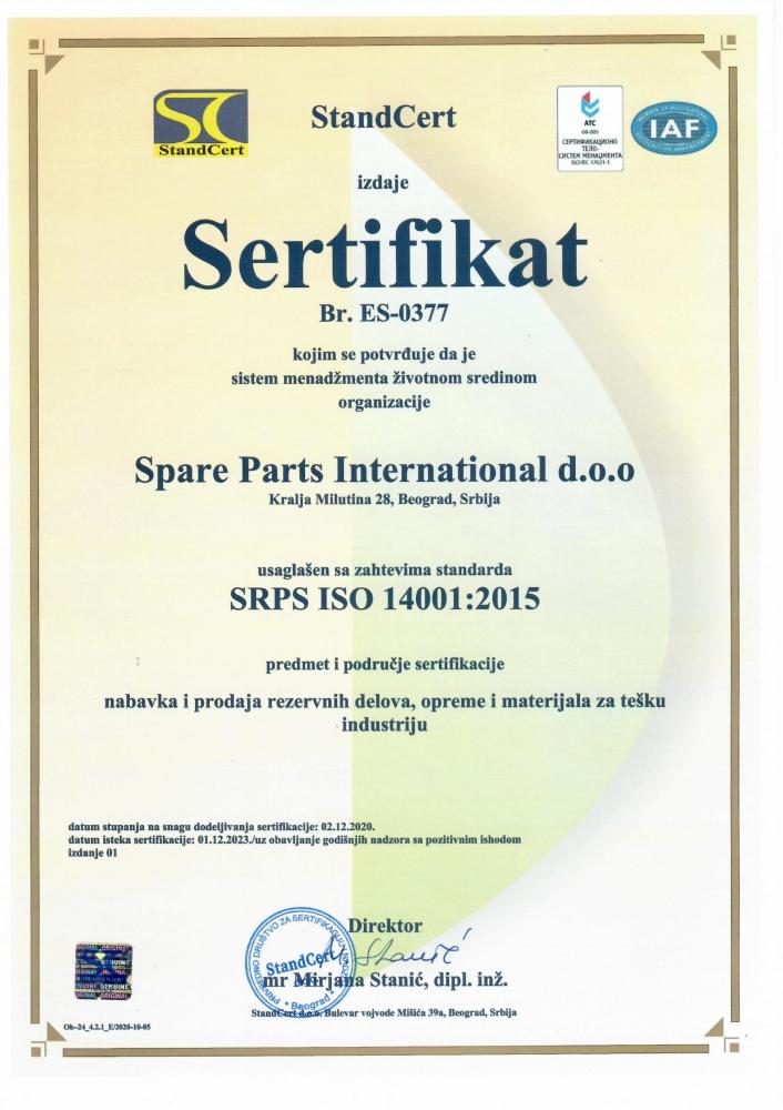 SPARE PARTS INTERNATIONAL D.O.O. se u  decembru 2020. sertifikovala za 14001:2015 i 45001:2015.